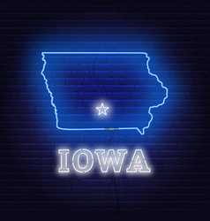 Neon map state of iowa on a brick wall background vector