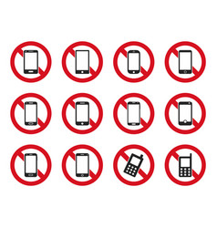 No phone sign cell phone prohibited icons set vector