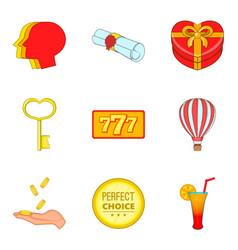 Obtain award icons set cartoon style vector
