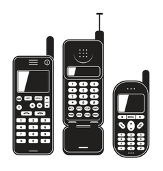 Old mobile phone set Black and white vector image
