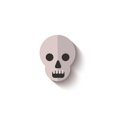 paper cut flat skull icon for halloween vector image