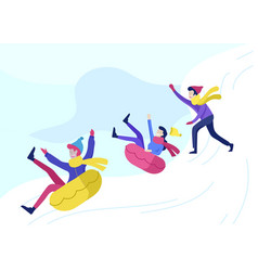 people dressed in winter clothes or outerwear vector image