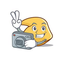 Photographer fortune cookie mascot cartoon vector