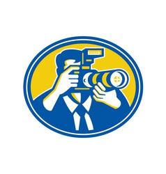 Photographer Shooting DSLR Camera Retro vector image