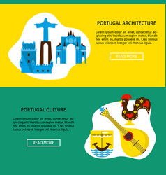 Portugal architecture and culture banner templates vector
