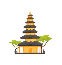 Pura ulun danu bratan temple indonesian landmark vector