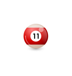 Red billiard ball number 11 vector