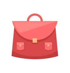 red schoolgirl bag with metal clip and two pockets vector image