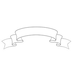 Ribbon scroll outline icon vector