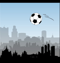 russia skylines with football ball vector image