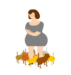 Sad woman with cats many pets of sadness and vector