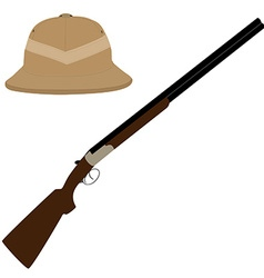 Safari hat and rifle vector image