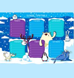 School timetable polar animals vector