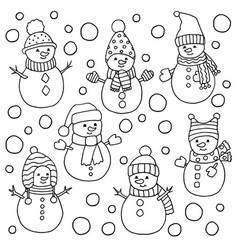 Set cute snowmen coloring page vector