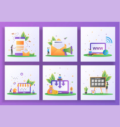 Set flat design concept digital marketing vector