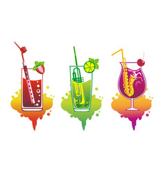 set of abstract cocktails vector image