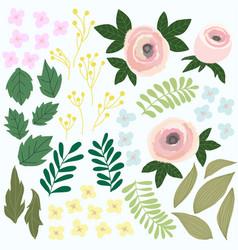 Set of flower design garden colorfull vector