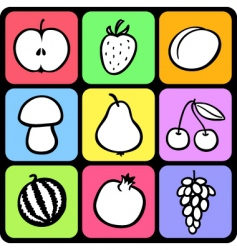 Set of stylised fruit vector