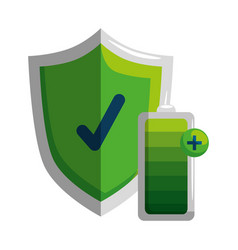 Shield with check symbol and battery energy level vector