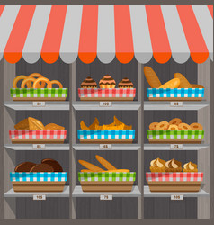 shopping stands with bakery products in baskets vector image