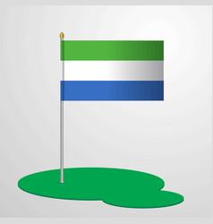 Sierra leone flag pole vector