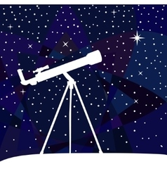 Silhouette of telescope on the night sky colorful vector image