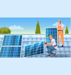 Solar panels installation flat composition vector