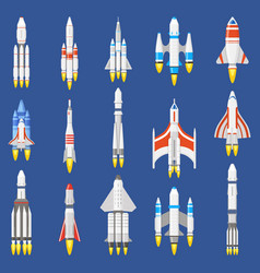 Space rockets spacecraft ships shuttle vehicles vector