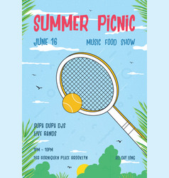 summer picnic vertical poster trendy retro vector image