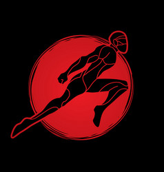 Superhero flying action cartoon man vector