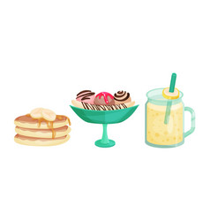 Sweet banana desserts with pancakes and ice cream vector