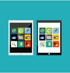Tablet apps responsive flat ui design vector image