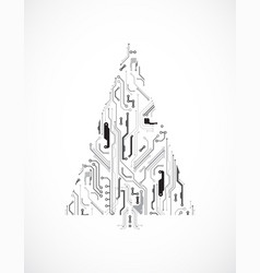 Technology christmas tree from digital electronic vector