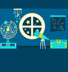 the magic room of astronomy vector image