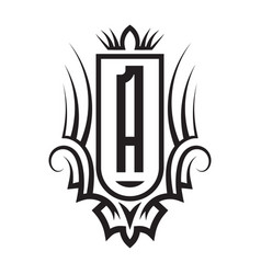 Tribal monogram design with letter a gothic vector