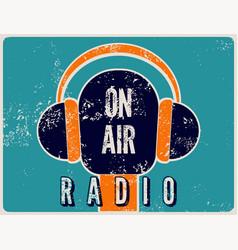 typographic retro grunge radio station poster vector image