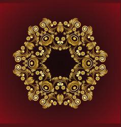 Vintage flower mandala gold frame vector