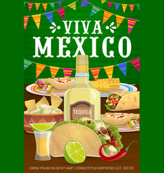Viva mexico poster with mexican food meals vector