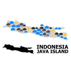 Weather mosaic map java island vector