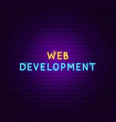 web development neon text vector image