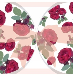 Wedding red roses card with bow vector image