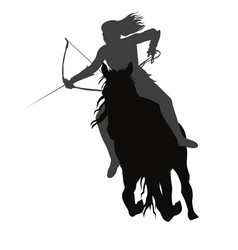 Wild amazon girl with a bow on horseback vector