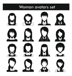 Woman avatars set in black simple style vector