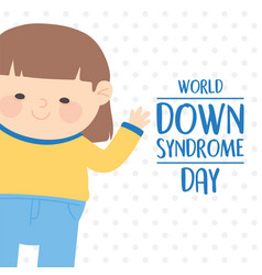 World down syndrome day cute girl cartoon dotted vector