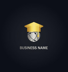 world graduation hat university gold logo vector image