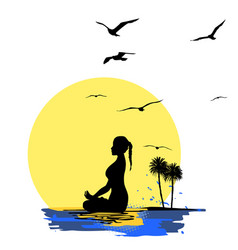 young woman practicing yoga meditation on the vector image