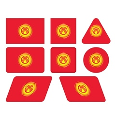 buttons with flag of Kyrgyzstan vector image vector image