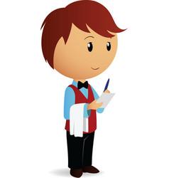 cartoon waiter take an order vector image vector image