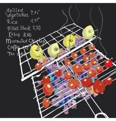 Grilled Vegetables Menu vector image