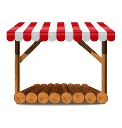 Street stall with red awning and wooden rack vector image vector image